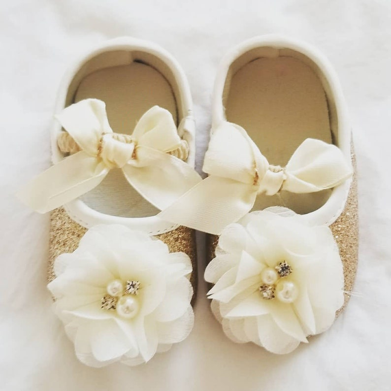 4c8e5bf2d4072 BIG SALE Girls Gold shoes, With chiffon pearl flowers