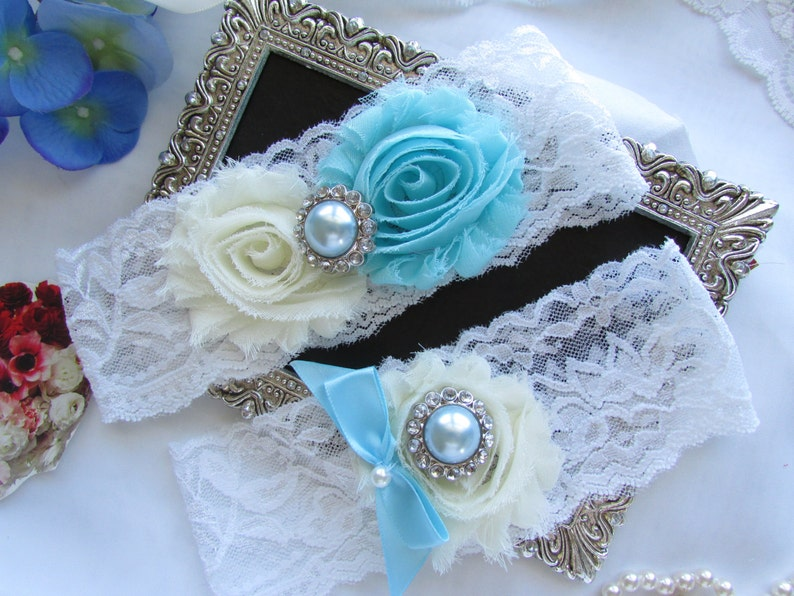 ICE BLUE  White Lace Garter Wedding Garter Set Bridal Garter Set.