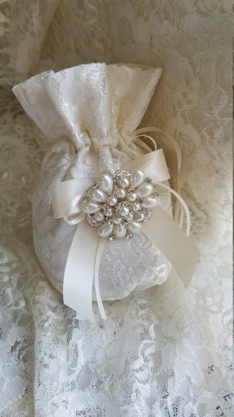 SALE Wedding Money Dance Bag | Brides lace Money Bag | Bride Dance Bag |  Wedding Dollar Dance Bag | Wedding Money Bag | Satin Wedding Purse