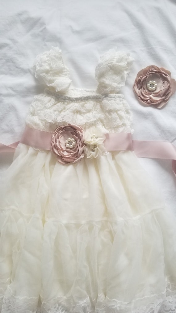 GIRLS IVORY DRESS FLOWERS FRILLY CHRISTENING FLOWER GIRL WEDDING PARTY CLOTHING