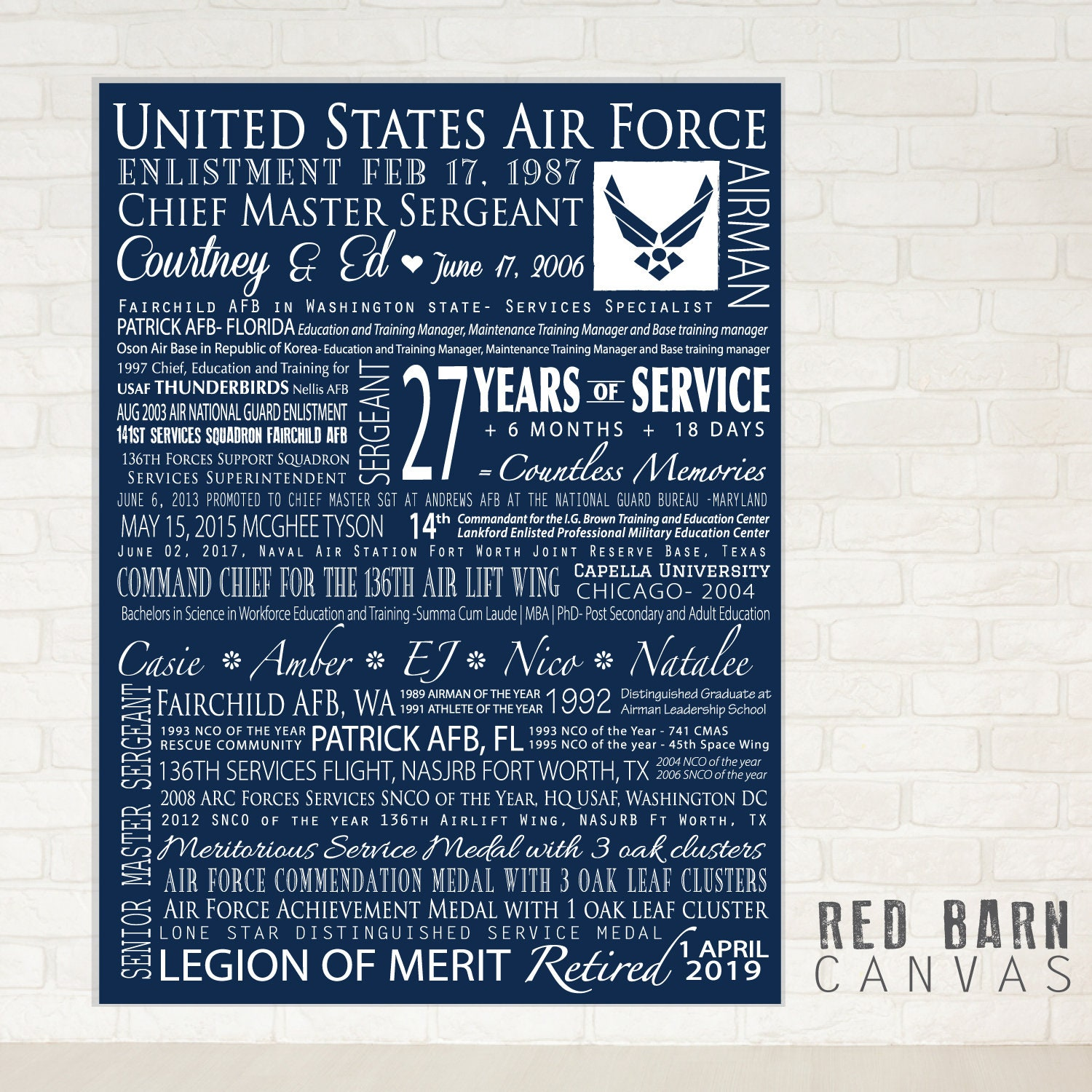 Military Retirement Gift on a Gallery Wrapped Canvas, Personalized Air  Force, Army, Coast Guard, Marines, Navy
