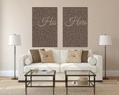Custom Set of 2 canvas prints, Wedding Vow Canvas