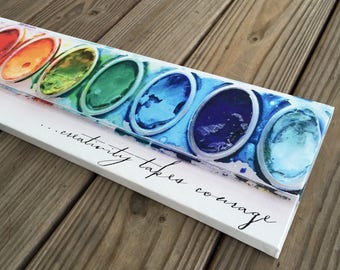 Jumbo Watercolor Paint Palette Sign,  Creativity Takes Courage, Teacher Gift,  Canvas wall art, Kids room decor, playroom wall decor