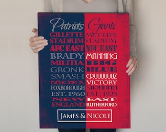 Personalized New England Patriots   New York Giants House Divided Print or  Canvas. Giants house divided. Patriots House Divided. Giants art. 0ac00bbb1