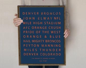 Denver Broncos Sign Subway Art Typography Poster Gift For Men NFL Decor John Elway Mile High Stadium