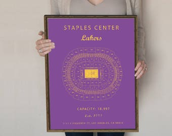 Staples Center Seating Chart, LA Lakers, Los Angeles Lakers, Los Angeles Lakers vintage, Lakers gifts. Gift for Lakers Fan. Lakers poster.