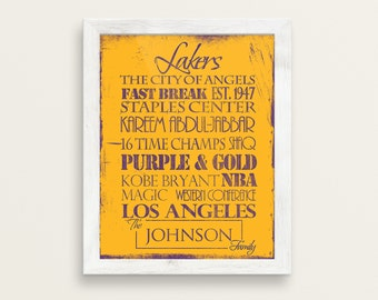 8c28746d63b Los Angeles Lakers  Print or Canvas. LA Lakers. Lakers gift. Personalized  Lakers. vintage lakers. basketball gift. los angeles print. la art