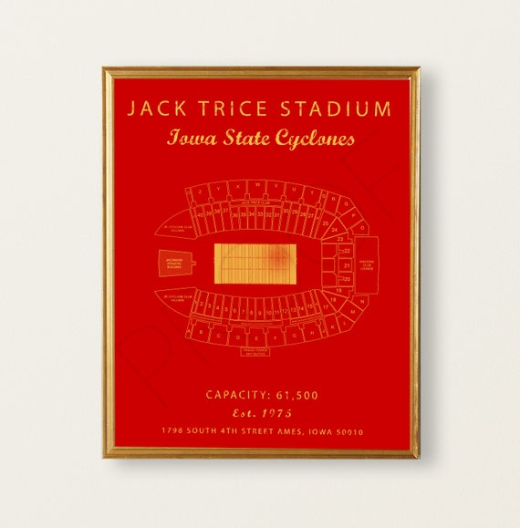 Jack Trice Stadium Seating Chart Iowa State Cyclones Sign Iowa State Decor Iowa State University Gift For Cyclones Fan Vintage Art