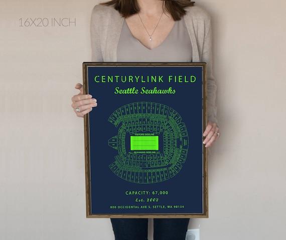 Centurylink Field Seattle Seahawks Seating Chart Centurylink Field Sign Centurylink Field Print Gift For Seahawks Fan Vintage Seahawks