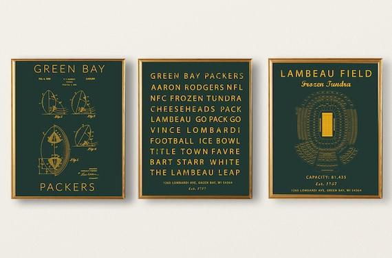 6a1f7082 Green Bay Packers set of 3 prints, Football Patent Art, Packers subway art,  Lambeau field seating chart, Green Bay Packers vintage decor.