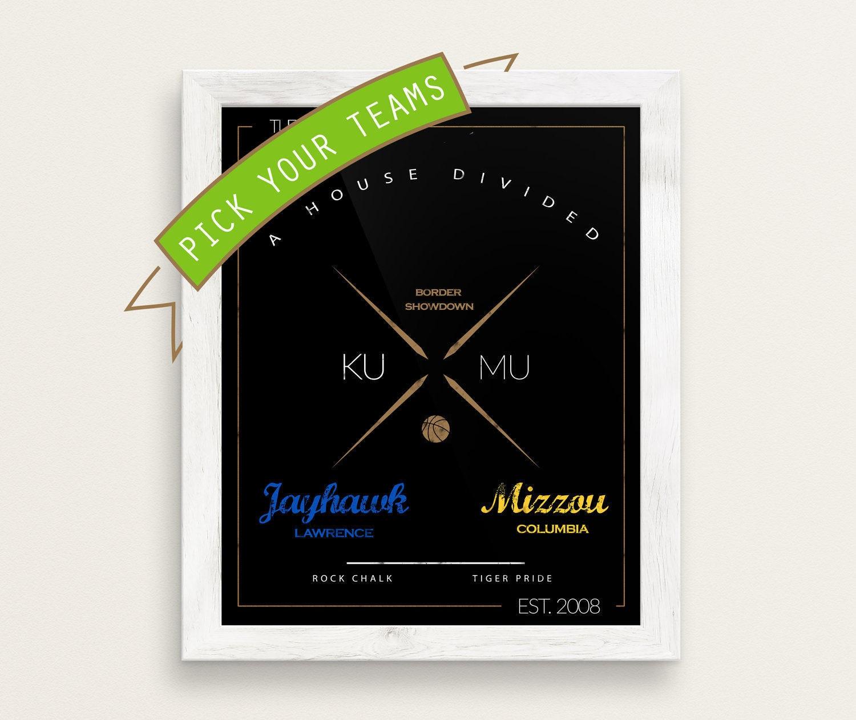 CUSTOM/personalized House Divided sports print  Kansas Jayhawks, Mizzou  Tigers, Jayhawk, - big 10, big 12, sec, nfl, nba, mlb, anniversary