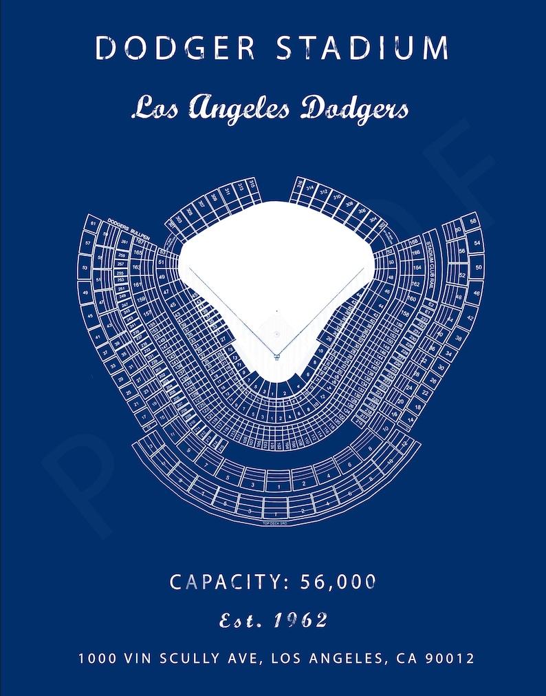 Dodger Stadium Seating Chart Los Angeles Dodgers Dodger Stadium Sign Poster Dodger Field Print Christmas Gift For Dodgers Fan Vintage