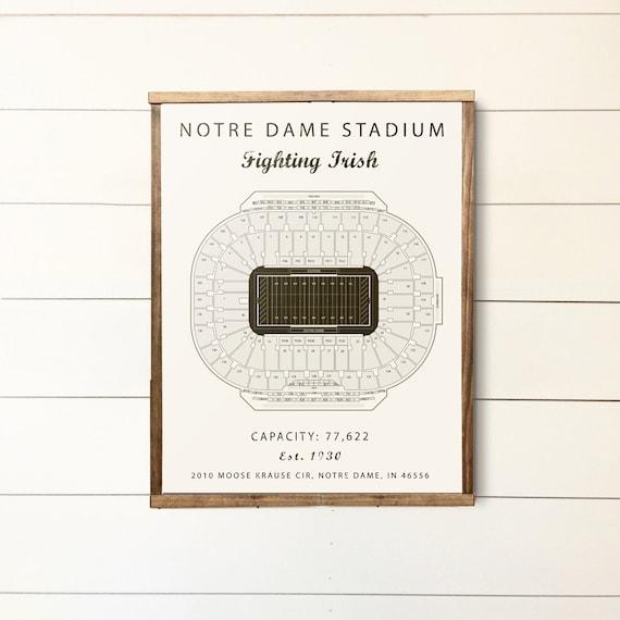 Notre Dame Notre Dame Stadium Seating Chart Fighting Irish Notre Dame Sign Groomsmen Gift College Football Office Basement Art Poster