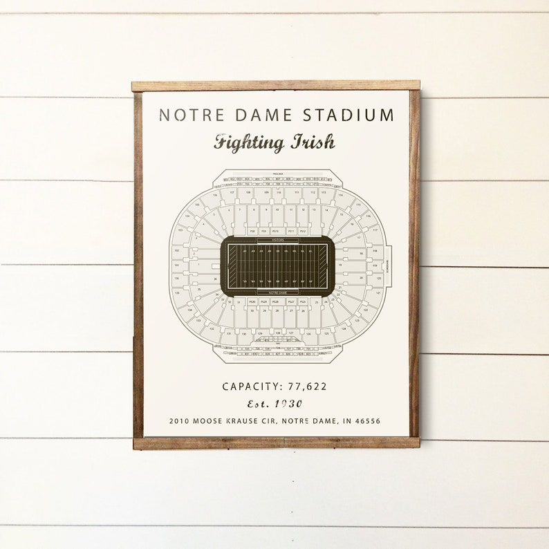 Notre Dame Notre Dame Stadium Seating Chart Fighting Irish Notre Dame Sign Groomsmen Gift College Football Office Basement Art Poster