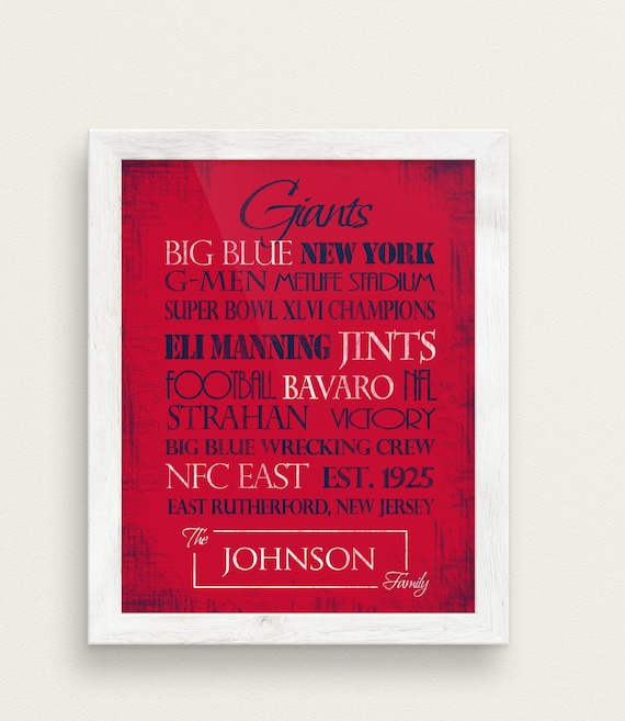 NY Giants Gift Print or Canvas. football prints. New York  63f423749