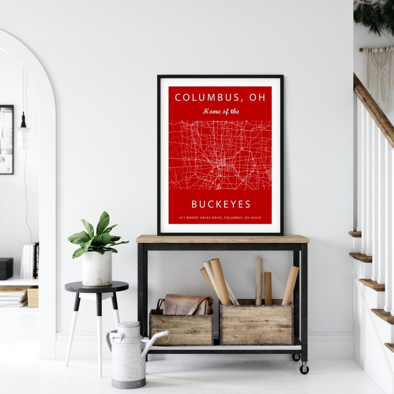 Map Of Columbus Ohio Stadium Seating Chart Ohio Buckeyes Buckeye Sign Buckeyes Print Gift For Buckeyes Fan The Ohio State University