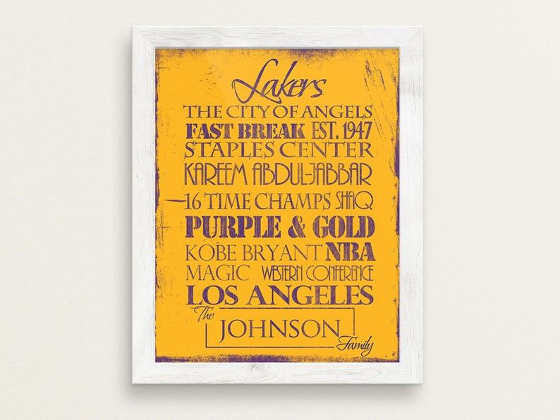391c921ca Los Angeles Lakers  Print or Canvas. LA Lakers. Lakers gift.