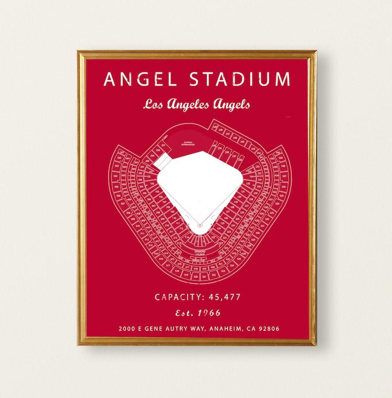 Angel Stadium Los Angeles Angels Angel Stadium Seating Chart Gift For Angels Fan Vintage Angels Gift For Him Under 30 Mlb Baseball Art