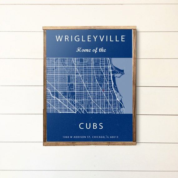 Wrigleyville Map Chicago Illinois Map Wrigley Field Sign Etsy