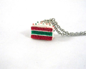 Christmas Necklace, Red and Green Miniature Cake Necklace