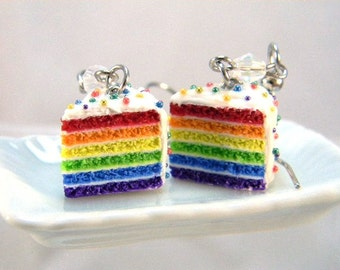 Rainbow Cake Earrings, Miniature Food Jewelry, Foodie Dangle Earrings