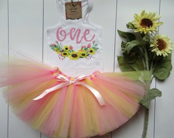 c350483535ef Pink and yellow Sunflower First Birthday girl tutu outfit- Sunflower  Birthday girl outfit - Birthday Outfit- Sunflower 1st birthday girl