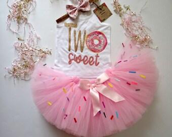 24c6a120d95d9 Two Sweet Donut Birthday girl tutu set- Girls Donut 2nd birthday- Two Girls  Donut birthday- Donut shirt