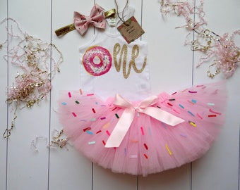 b21e4a5f0 First Birthday Donut girl tutu outfit- tank top Donut Birthday girl outfit  - Sprinkles Birthday Outfit- Donut 1st birthday- Pink tutu