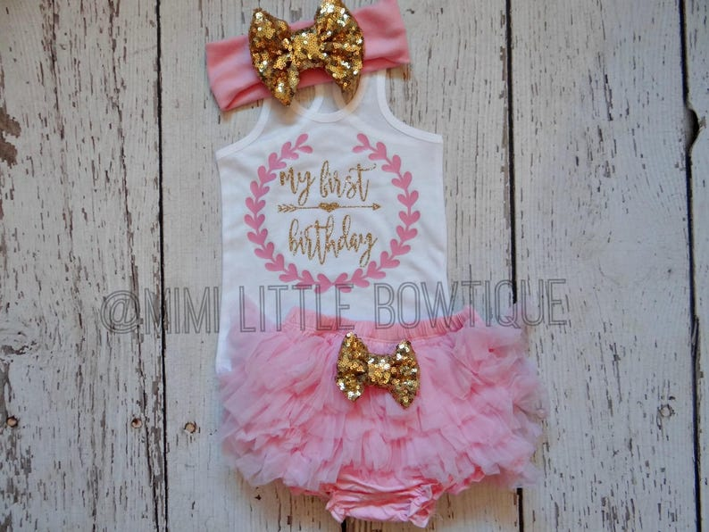 1st Birthday Outfit My First Birthday Tank top with pink and gold sparkle Baby Girl Clothing