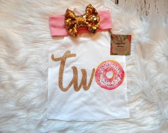Donut second Birthday outfit-  Donut pink and gold 2nd birthday outfit- 2nd birthday- Donut birthday shirt- Donut party