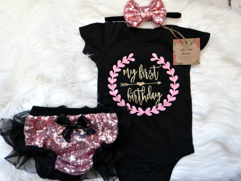 de14a1273270 First Birthday girl outfit Black Pink and gold short sleeve