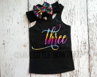 Third Birthday Tank top outfit- Rainbow 3 birthday girl-  Third Birthday girl Outfit- Baby Girl Clothing- Rainbow second birthday shirt