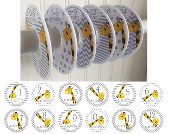 Baby Closet Dividers Organizers Clothes Dividers Closet Dividers Boy Girl 12 Baby Monthly Stickers Month Stickers Giraffe Baby Shower Gift