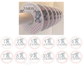 6 Baby Closet Dividers Organizers Clothes Dividers 12 Baby Monthly Stickers Pink Gray Elephants Nursery Decor