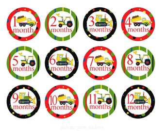 Boy Monthly Stickers Trucks Baby Month Stickers Boy Milestone Stickers Monthly Baby Stickers Baby Milestone Stickers