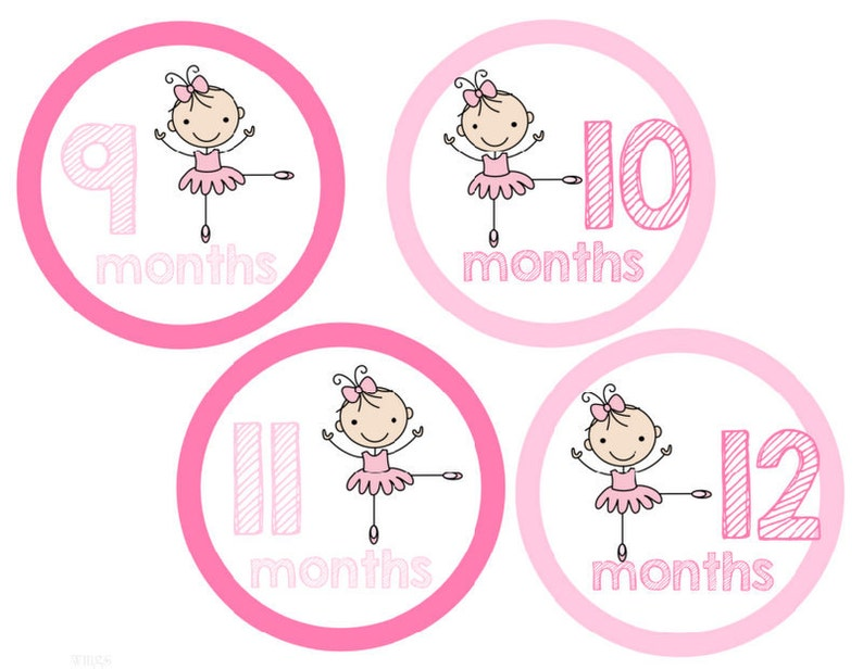 Baby Monthly Stickers Ballerina Month Stickers Dance Stickers Girl Stickers Monthly Baby Stickers Baby Shower Gift