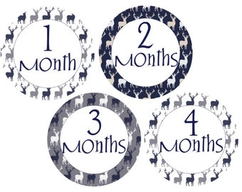 Monthly Stickers Deer Stickers Baby Month Stickers Baby Shower Gift Navy Gray