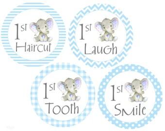 Baby Milestone Stickers First Milestones Growth Stickers Blue Gray Elephants