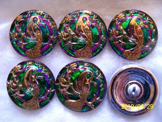DRAGONFLY D 002 4 PCS REDUCED CZECH GLASS BUTTONS BLACK//BLUE STAR 31mm