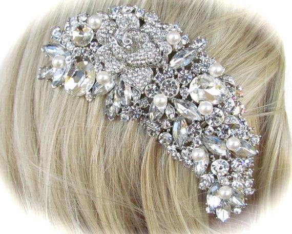 Custom Order Rhinestone Large Pearl Fancy Comb