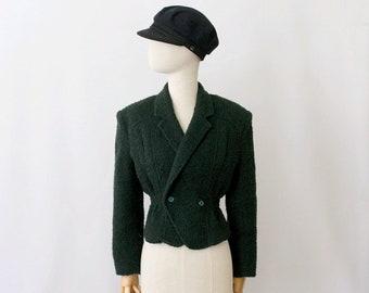 1980 green wool Crop nipped Jacket / 80s crop Jacket / vintage green wool spencer