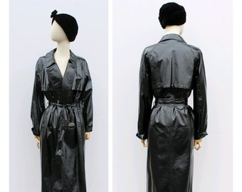 1cacfb7ffdb Yves Saint Laurent black vynil Trench-coat / Vintage YSL black vynil trench  -coat 38fr small / vintage black pvc rain coat