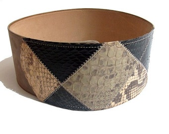 ceinture large 80s serpent et cuir gris 70cm 866317f96e9