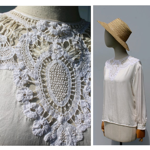 1910s lace ivory silk blouse / french antique silk