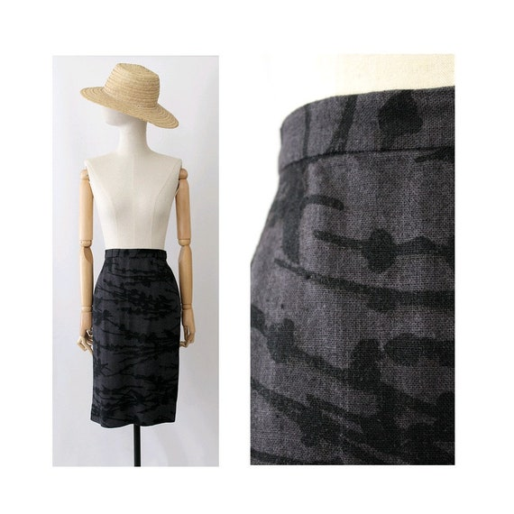 Prada vintage pencil Skirt  / grey and black / vin
