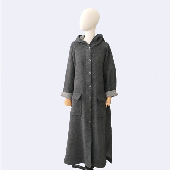 1980s oversized grey wool long hooded Coat Naf Naf