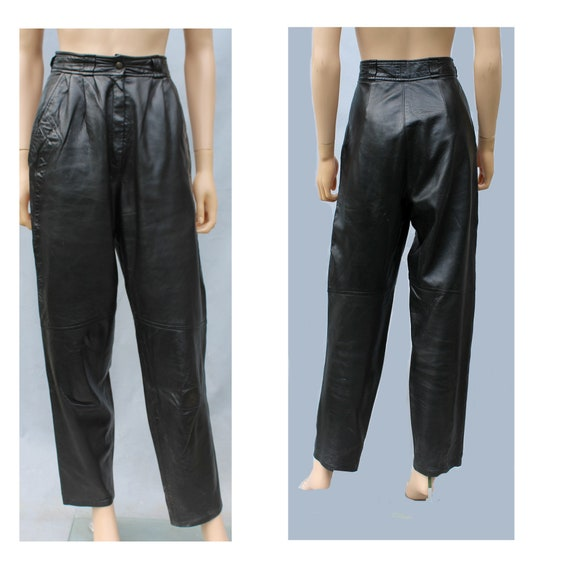 1980s french leather pants  / 80s black leather hi