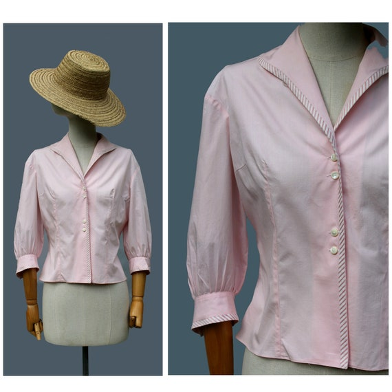 1950s french nipped cotton blouse / 50s pink cotto