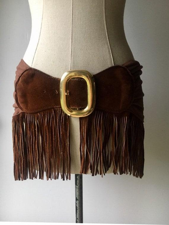 1980s french wide fringe Belt / 80s brown fringe c