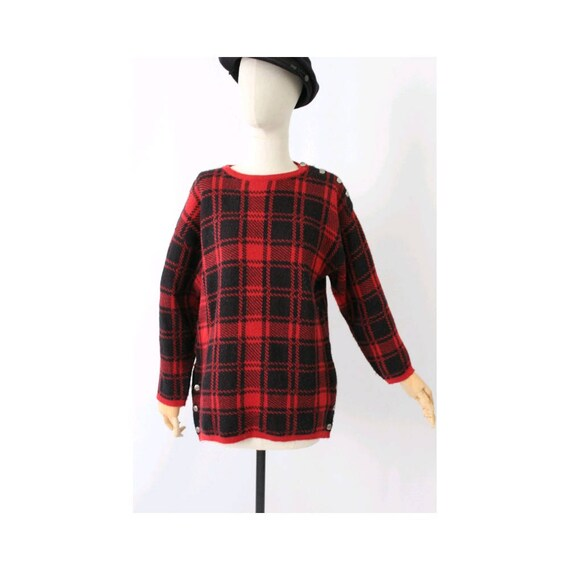 Guy Laroche 1980s plaid sweater / vintage plaid sw